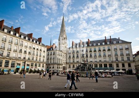 People walking at Place Royale Loire Atlantique Nantes France - Stock Photo