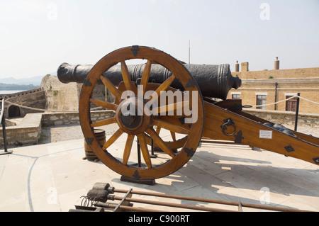 Corfu - the old Castle. A cannon. - Stock Photo