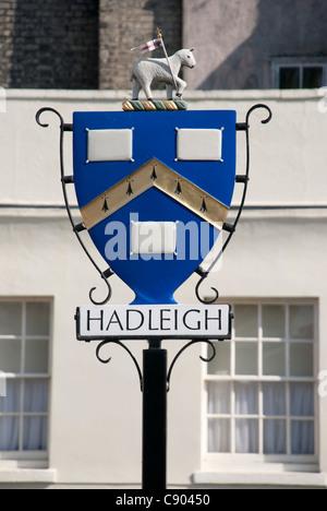 Hadleigh town sign Suffolk UK - Stock Photo