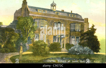 Postcard of Charles Dickens' home, Gad's Hill, Kent, - Stock Photo