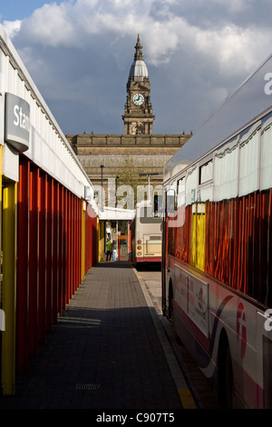 Bus Station and Town Hall beyond, Bolton, Greater Manchester, England, UK - Stock Photo