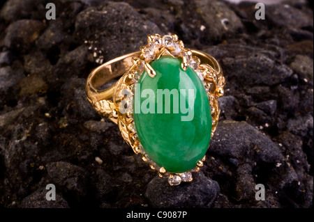 Imperial Green Jade Ring. - Stock Photo