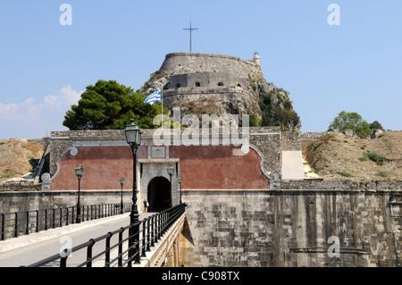 Entrance to the Old Venetian Fortress Corfu Town Kerkyra Greece - Stock Photo