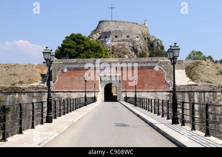 The entrance to the Old Venetian  Fortress Corfu Town Kerkyra Greece - Stock Photo