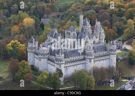 PIERREFONDS CASTLE (aerial view). In the forest of Compiègne. Oise, Picardy, France. - Stock Photo