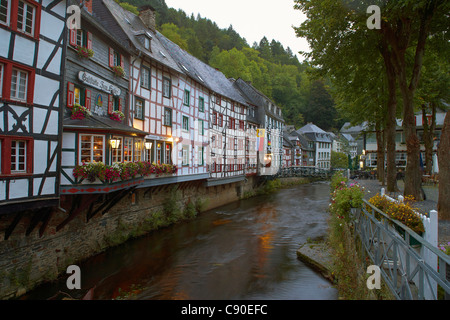 Monschau, Half-timbered house, Rur, Haller, Eifel, North Rhine-Westfalia, Germany, Europe - Stock Photo