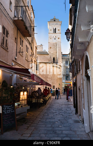 Street in the old town of Bonifacio with church st. Marie Majeure, Haute Ville, Corsica, France, Europe - Stock Photo