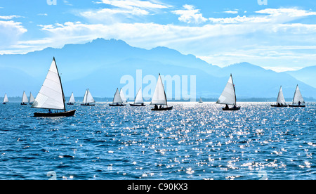 Chiemsee Regatta, Chiemsee, Chiemgau, Upper Bavaria, Bavaria, Germany - Stock Photo