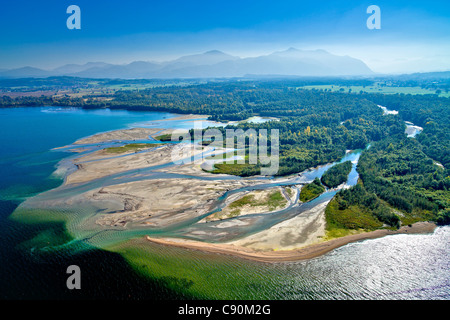 Aerial view of the Tirol Ach river delta in the Chiemsee, Tiroler Achen, Natural reserve, Chiemgau, Upper Bavaria, - Stock Photo