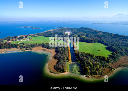 Aerial view of the Herrenchiemsee Castle, Herrenchiemsee, Chiemsee, Chiemgau, Upper Bavaria, Bavaria, Germany - Stock Photo