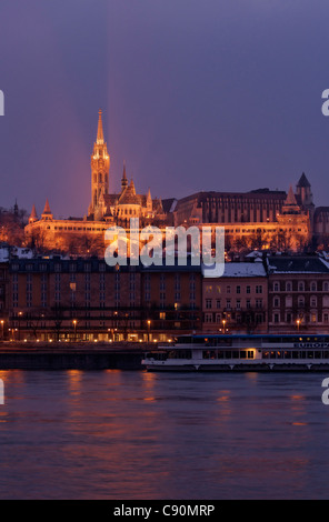 Danube and Fisherman's Bastion with Matthias Church in the evening, Var, Budapest, Hungary - Stock Photo