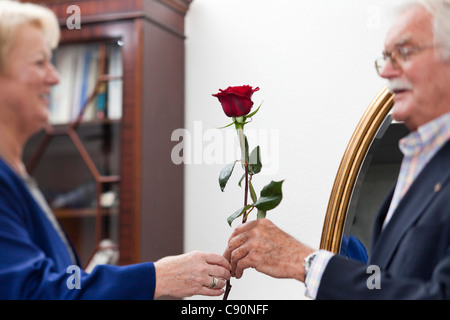 An old man gives a rose to an old lady, Zurich, Switzerland - Stock Photo