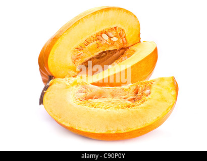 Yellow pumpkin with slice on white background - Stock Photo