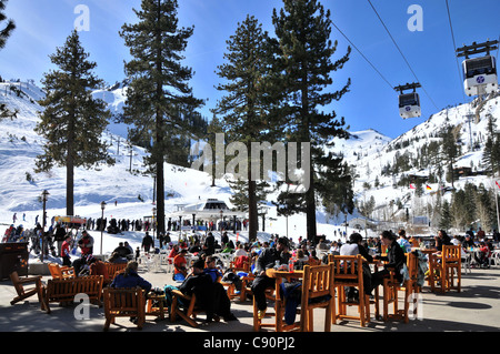 People at ski area Squaw Valley near Lake Tahoe, North California, USA, America - Stock Photo