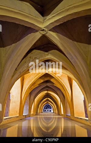 Los Banos de Dona Maria de Padilla, Alcazar of Seville, royal palace originally a Moorish fort, Seville, Spain - Stock Photo