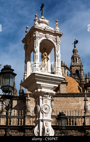 Detail of Plaza Virgen de los Reyes and Seville Cathedral, Catedral de Santa Maria de la Sede, Seville, Spain - Stock Photo