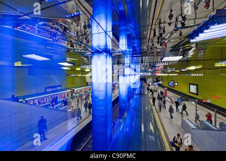 Muenchner Freiheit, Light designer Ingo Mauer, Undeground Station at night, Munich, Upper Bavaria, Bavaria, Germany - Stock Photo