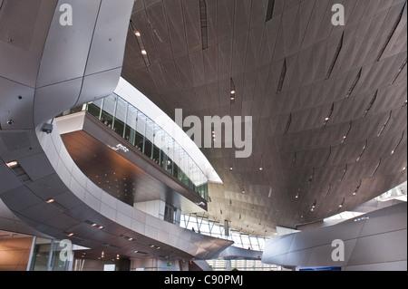 Interior of the BMW Welt, Olympic Park, Munich, Upper Bavaria, Bavaria, Germany - Stock Photo