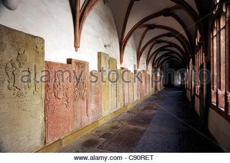 Cloister with stone tablets, St. Kilian Cathedral, Wuerzburg, Wuerzburg, Lower Franconia, Bavaria, Germany, Europe - Stock Photo