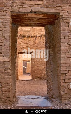 Doorways at Pueblo Bonito, Anasazi Indian ruins, Chaco Culture National Historical Park, New Mexico, USA - Stock Photo