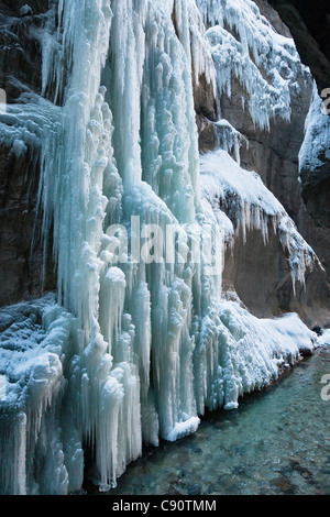 Icicles in Partnachklamm gorge near Garmisch Partenkirchen, Upper Bavaria, Germany, Europe - Stock Photo