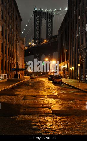 Washington Bridge, Empire State Building, New York City, New York, USA, North America, America - Stock Photo
