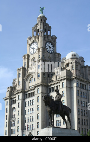 The Liver Building is on Liverpool's historic river Mersey waterfront. The building is Grade 1 listed and part of - Stock Photo