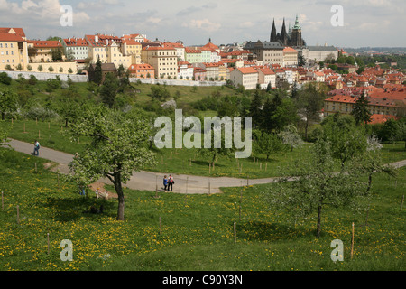 View at the Prague castle from the Seminary Garden in Prague, Czech Republic. - Stock Photo