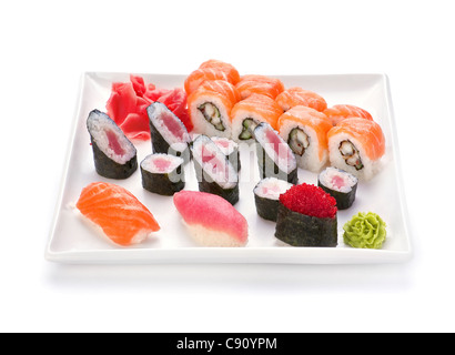 Japanese food sushi and roll in plate on white - Stock Photo
