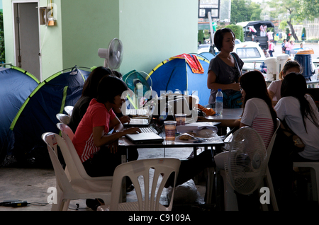 Control center for flood relief operation. National Stadium, Bangkok, Thailand on Monday, November 7th, 2011. Thailand - Stock Photo