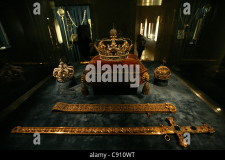 Royal crown jewels of Bavaria seen in the Treasury of the Residenz Palace in Munich, Germany. - Stock Photo