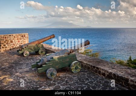 The Netherlands, Oranjestad, Sint Eustatius Island, Dutch Caribbean. Cannons of former Fort De Windt. Island St. - Stock Photo