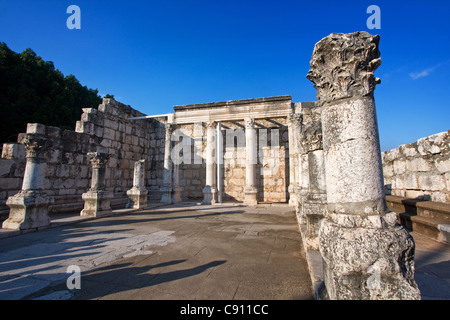 Roman ruins of the ancient Capernaum in Israel - Stock Photo