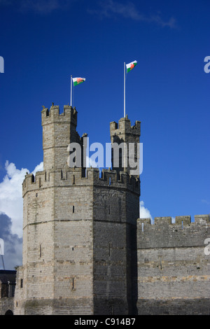 The majestic castle of Caernarfon is situated at the mouth of the Seiont river. The castle was built in 1823 by - Stock Photo
