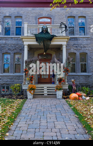 halloween decorations on a house in outremont area montreal canada stock photo