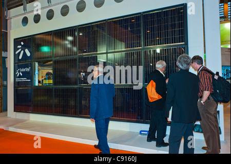Paris, France, Batimat Construction Materials Trade Show, Arcelormittal Metals Corporation, Solar Energy Panels - Stock Photo