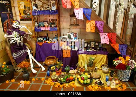Decorated Mexican Day of the Dead or Dia de los muertos altars, Mazatlan, Sinaloa, Mexico - Stock Photo