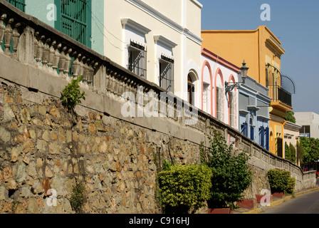 Restored nineteenth century houses on Angel Flores Street in old Mazatlan, Sinaloa, Mexico - Stock Photo
