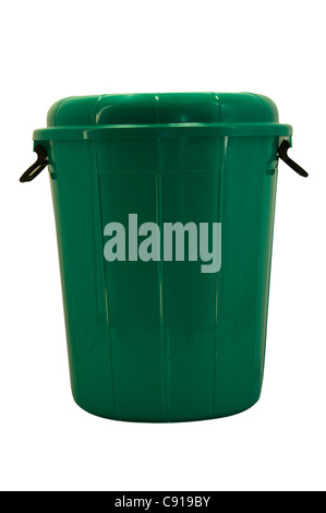 Green pail on white background - Stock Photo