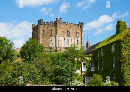 Durham Castle is a historic building and a former bishop's palace which is now a  museum and part of the university - Stock Photo