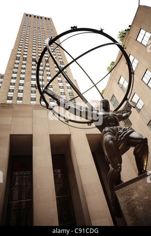 Atlas is a bronze statue in front of Rockefeller Center in midtown Manhattan, created by Lee Lawrie and installed - Stock Photo