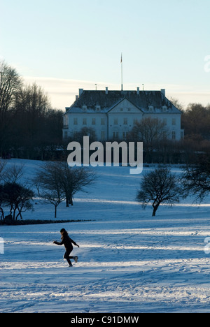 Marselisborg Palace is the summer royal residence of the Danish Royal Family in Aarhus. - Stock Photo