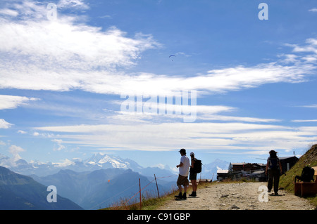 View from Fiescheralp to Monte Rosa Massif, Canton of Valais, Switzerland - Stock Photo