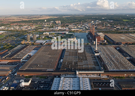 Aerial view of the Volkswagen plant, factory halls, Autostadt, Wolfsburg, Lower Saxony, Germany - Stock Photo