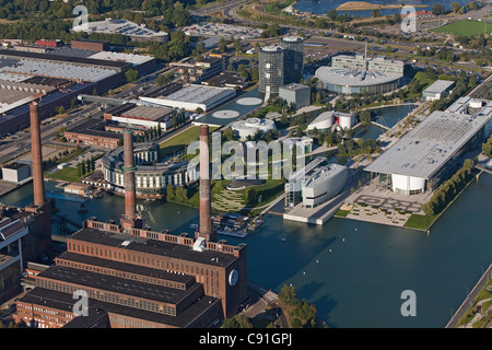 Aerial view of the Volkswagen plant and canal, Autostadt Wolfsburg, Lower Saxony, Germany - Stock Photo