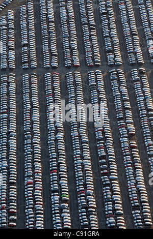 Aerial view of many parked vehicles at Volkswagen automobile plant, Wolfsburg, Lower Saxony Germany - Stock Photo