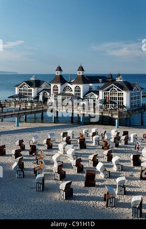 Sellin pier in the sunlight, Baltic Sea Resort Sellin, Ruegen, Mecklenburg-Western Pomerania, Germany, Europe - Stock Photo