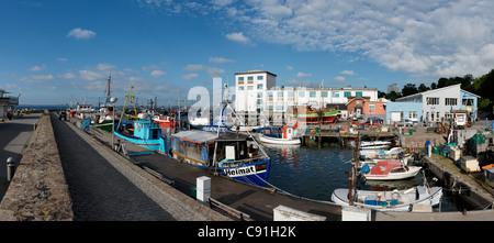 Boats at Sassnitz harbour, Sassnitz, Ruegen, Mecklenburg-Western Pomerania, Germany, Europe