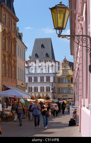View from Sternstr. at the main market with Steipe, Trier, Mosel, Rhineland-Palatinate, Germany, Europe - Stock Photo