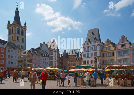 Main market with St. Gangolf and Steipe, Trier, Mosel, Rhineland-Palatinate, Germany, Europe - Stock Photo